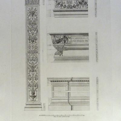 Dettagli del Monumento Sepolcrale di Pietro Ferricio nel Chiostro di S. Maria sopra Minerva