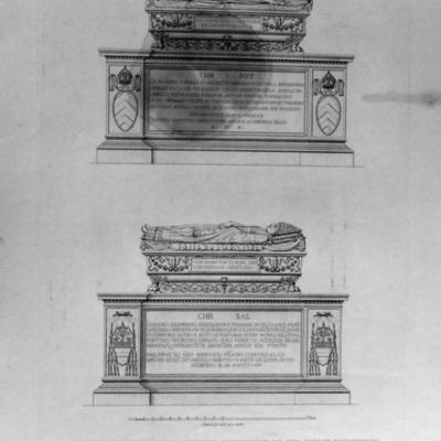 Basamenti ed Urne Sepolcrali di Ottaviano Fornari e del Car. Giov. Giacomo Schiaffenati nel Chiostro di S. Agostino